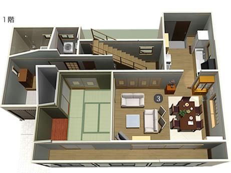 8) 推定42坪の家の間取りは 4Kとちょっと贅沢。