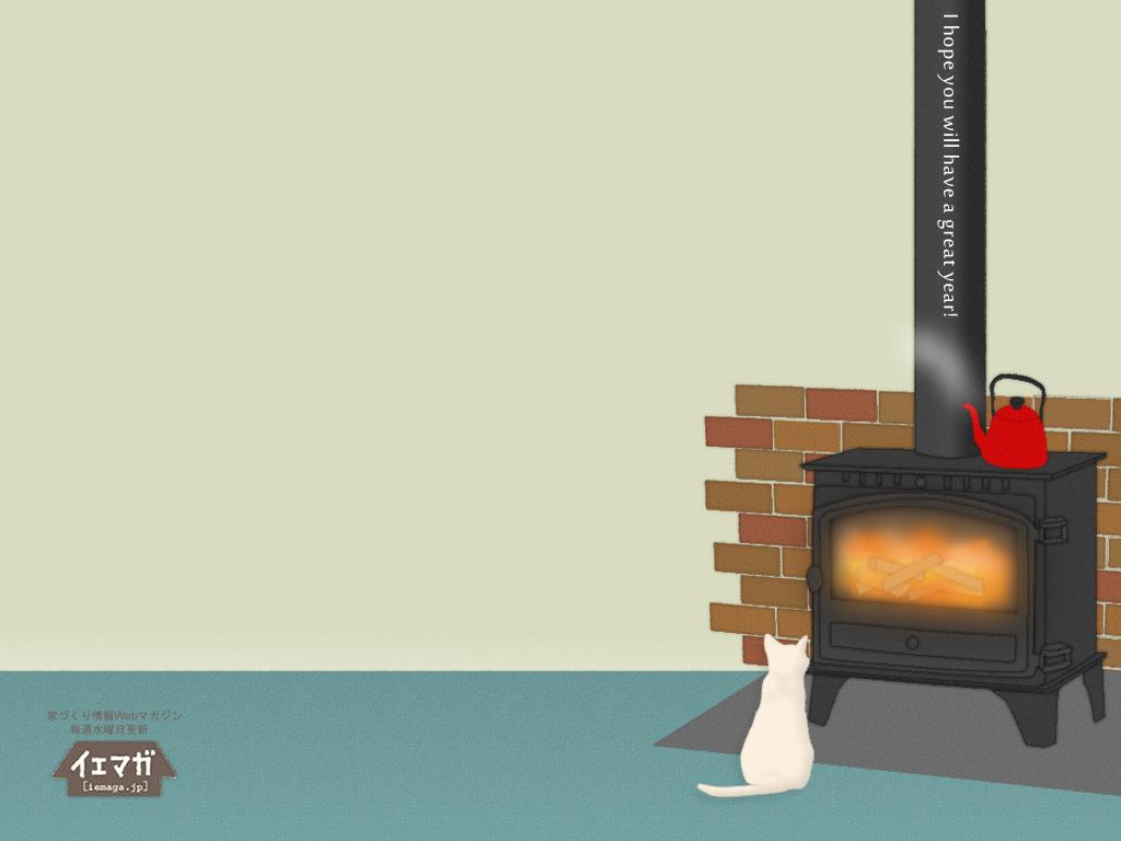 薪ストーブと猫 壁紙 1024×780