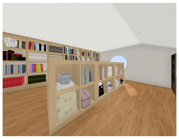 中央スペースに余裕があれば、中央に棚を置くと回遊できる蔵書スペースとなります。