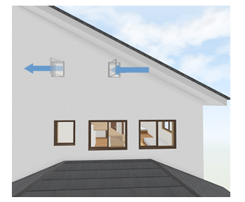 窓が付けられる壁が一面しかない場合、吊元を内側にした2つの縦すべり窓を設置すると風を捕まえることが出来ます。