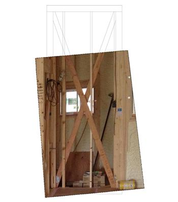 唯一、リビング側から写っていた、手すりを付けたい玄関の壁の写真から内部構造を推測する立面図を作成しました。