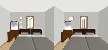 左のように施主支給のガラスブロックを室内窓の高さに合わせて、採光を兼ねて飾るつもりだったのですが、現場合わせで強化ガラスの小窓一つに。
