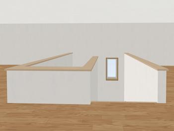 出入り口の階段に腰壁