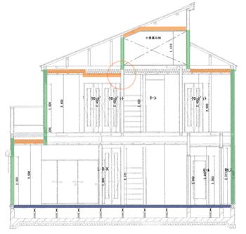 2階の天井はまっすぐだと思っていたのですが、実際はクローゼット部分の天井が下がり、段差となって断熱ラインが切れる原因となっていました。こんなところから断熱が途切れることがあるんですね。