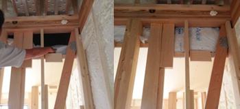 クローゼットの天井が少し低い影響で、断熱材の上に隙間が出てしまいました(左)。その後、しっかり塞いでもらっています(右)。
