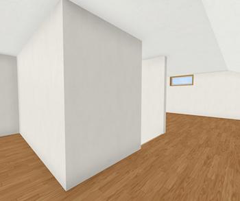 同じ平面図でも階段に壁があるかどうか、使い勝手が大きく異なります。壁があることで、階段の両側に2つの部屋があるような屋根裏収納となります。
