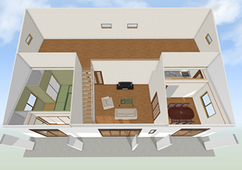 隣の部屋にも続く広い小屋裏をリビング等の部屋につなげてロフトにすることができます。