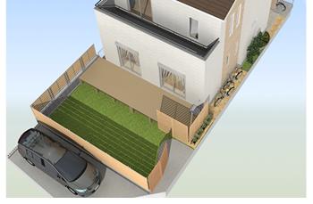 南面に約7m、西面に約5mに樹脂フェンスをDIYで設置します。