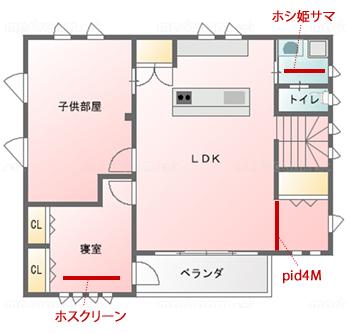 こちらが、室内物干し設備を設置した3カ所。洗面室にホシ姫サマ、リビングにpid4M、寝室にホスクリーンと3種類の設備を採用しました。