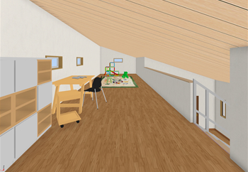 平屋プランの場合、屋根裏の天井高の制限をしなくて済む2階建て扱いとするのも魅力的です。屋根勾配をそのままロフトまで連続させることで、より一体感の演出となり、屋根裏の使い勝手も高くなるでしょう。