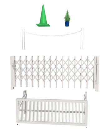 通常、コーンバー、植栽、車止めポール、伸縮門塀、跳ね上げ式ゲート等で対応します。