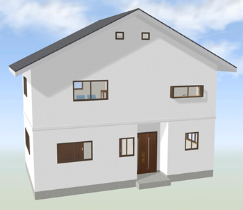 切妻屋根も天井の高い中央スペースを上手に使えば、屋根裏収納と吹き抜けを組み合わせたロフトを実現可能です。