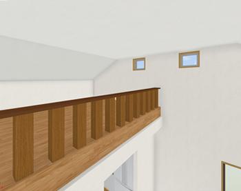 切妻屋根の中央を使った吹き抜けとロフトの上に窓をつければ、かなり高い位置から採光ができます。
