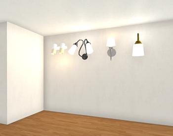 壁付け照明という選択肢も。屋根裏部屋での中腰で行なう作業に邪魔になりませんが、壁一面を収納に使うことができなくなります。