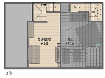 建物の中央の屋根が高くなるように片流れ屋根をかけたことで、効率よく9.5畳の屋根裏部屋を確保することができました。