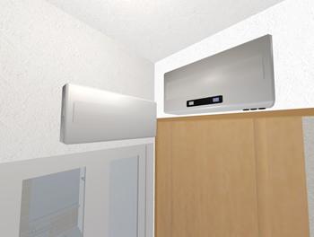 当初から、洗面脱衣室の入り口引き戸の垂れ壁部分をパワコンスペースとして想定していました(浴室のドアの上には分電盤があります)。