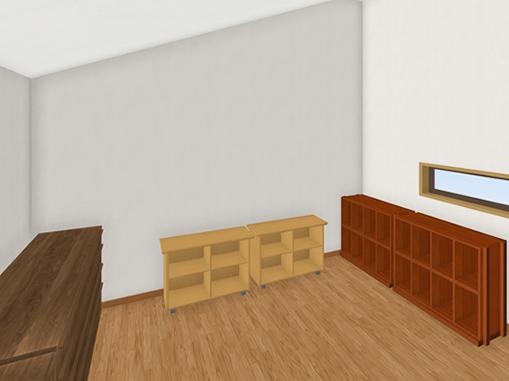 9.5畳の屋根裏部屋なら、いくつもの収納棚が並べられます。