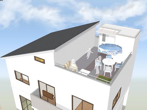 ペントハウスは、あくまで屋上に出るための階段と最小限のスペースで、居室としては利用できない空間となります。塔屋と呼ばれる場合もあります。