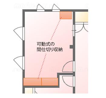 可動式の収納棚は、壁際の2カ所に分けて設置していました。