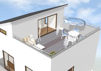 屋上には屋根裏部屋の掃き出し窓から出入りするようにすると、ペントハウスをつくる必要がありません。