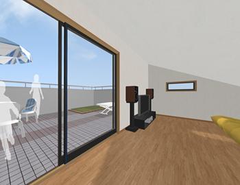 同じレイアウトでも、天井高がアップして大きな掃き出し窓を付けるだけで、開放的な屋根裏部屋になりました。