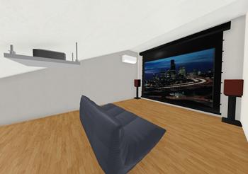 密室に長時間籠りがちとなるシアタールームには、空調設備も重要です。部屋として作れば、エアコン設置の制限も受けません。1.4mの天井高制限もなくなるので、屋根の高さを目一杯生かした大きなスクリーンを設置することもできます。