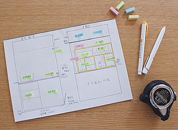 用途別に四角く区切っていく図を描いて、収納計画を立てましょう。