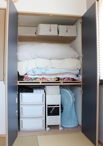 わが家の押し入れの上段には、布団を置いています。