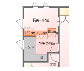 南側の次男の部屋は、L字型になっています。