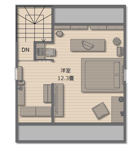 屋根裏を利用することで、広々とした寝室と収納を確保できました。階として独立しているので親子間のプライバシーも保てますね。