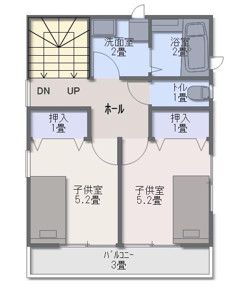 2階は、子供部屋と浴室と洗面室で埋まるため、夫婦の寝室を確保するスペースがありません。
