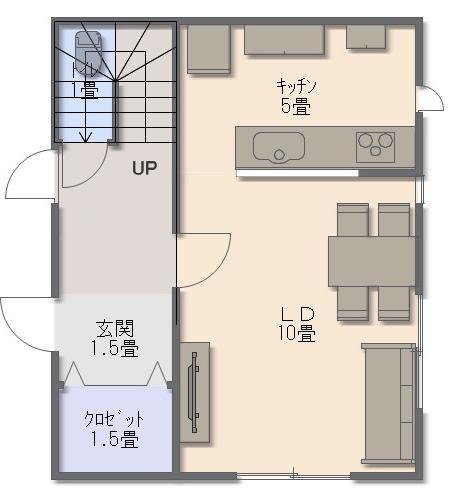 1階面積(建築面積)が11.25坪となるコンパクトなプランのため、一階は玄関とLDKだけになっています。