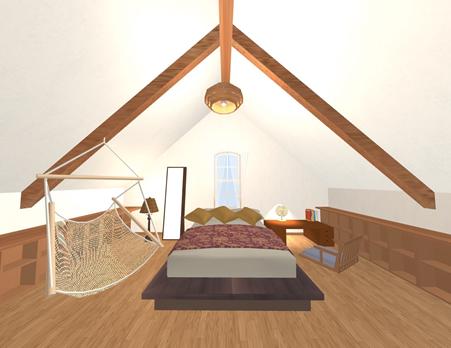 このプランでは、三角屋根の中央の天井高を活かしてベッドを配置しています。