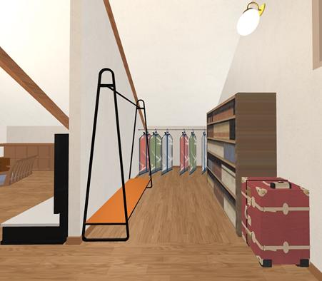 階下の収納不足を補うため、屋根裏の一角を壁で仕切って、収納スペースを確保しています。屋根勾配の高低差を利用して洋服掛けや、本棚など、夫婦の荷物がここにまとまります。