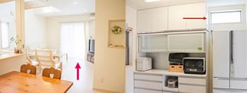 1階は、掃き出し窓1カ所(2万ポイント取得)と、キッチンのFIX小窓(1.3万ポイント取得)に内窓を取り付けます。