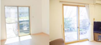 左:内窓取り付け前のリビングの掃き出し窓です。アルミサッシのシルバーカラーの窓枠が室内から見える状態でした。 右:内窓取り付け後のリビングの掃き出し窓です。バニラカラーより少し濃い窓枠が心配でしたが、様変わりした温かみがある明るいインテリアに大喜びです。