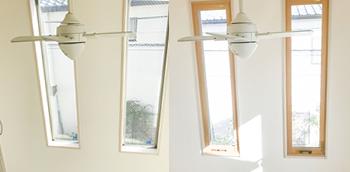 左:内窓取り付け前の吹き抜けのFIX窓です。こちらは、元々アルミの窓枠は目立たないデザインなのですが…。 右:内窓取り付け後の吹き抜けのFIX窓です。木目調の窓枠が強調されたことで、とてもおしゃれな雰囲気になりました。
