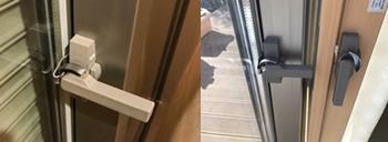 工事直前に、元々アルミサッシに付いていたクレセントのレバーが長く、内窓と接触することに気が付きます(左)。内窓のクレセントと入れ替えることで接触を避けるアイディアを思いつき、接触を避けることができました。どちらも同じLIXILのサッシだったので良かったのかもしれません。