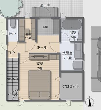 【1階の間取り】寝室と水回りは1階にまとめています。ご夫婦二人のお住まいを想定して、部屋数が少ないため、広い収納や洗面室と、書斎も確保できました。