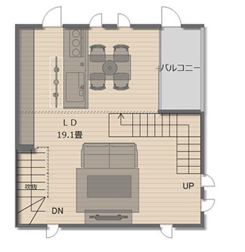 【2階の間取り】19.1畳のLDKと2.2畳のインナーバルコニー。
