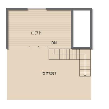 【ロフト】北側に面したロフトは固定階段付の7.5畳です。さらにリビングの上部は13畳の吹き抜けになっているのが、リビングに大きな効果をもたらします。