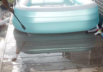 プールの残り水を高圧洗浄機をかけてみたら