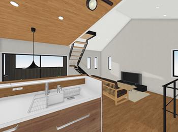 天井の低いキッチンから、リビング全体を見渡すと、吹き抜けの勾配天井の高さがより引き立ちます。