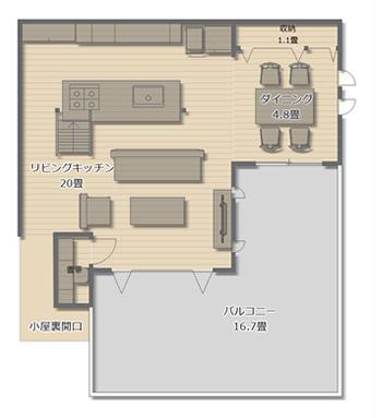 2階のバルコニーは16畳以上もあるので、お庭がなくても、困ることはまずなさそうです。リビングとキッチンだけで20畳もの広いスペースで、アイランドキッチンを実現しています。リビングの一角には1畳ながらも書斎も確保しました。
