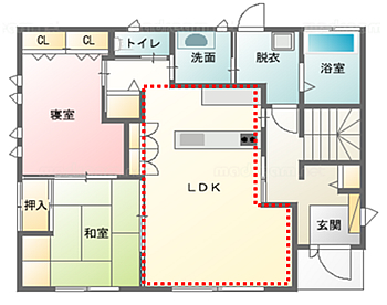 LDKの広さは約16畳。