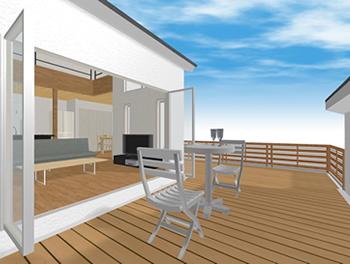 2階部分は屋根裏部屋ではなく、居室としてつくられているので、窓からバルコニーへの出入りももちろん可能です。