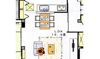 ハウスメーカーが作ってくれた素案では、コンパクトなダイニングセットとソファをイメージとして配置してあり、何となくこんな家具配置になるのかなと当初は考えていました。